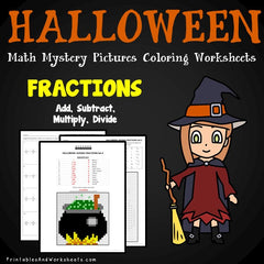 Halloween Fractions Mystery Pictures Coloring Worksheets