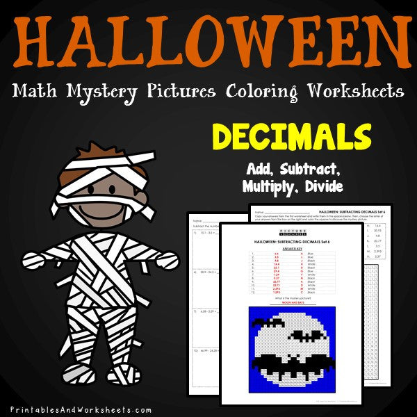 Halloween Decimals Coloring Worksheets