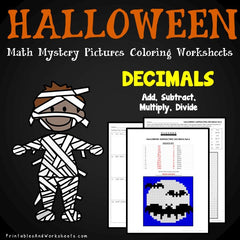 Halloween Decimals Mystery Pictures Coloring Worksheets