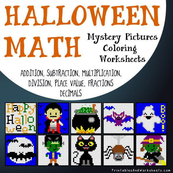 Halloween Math Coloring Worksheets