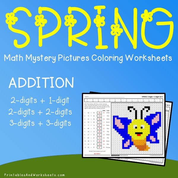 Spring Addition Coloring Worksheets