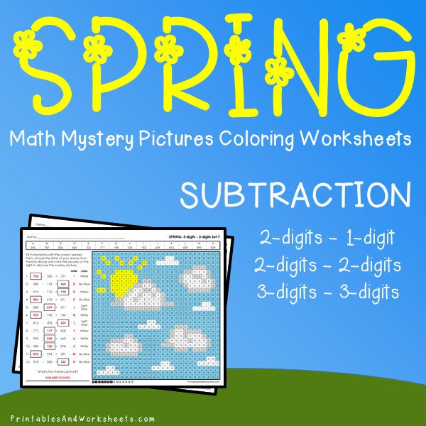 Spring Subtraction Coloring Worksheets