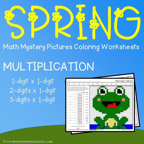 Spring Multiplication Coloring Worksheets