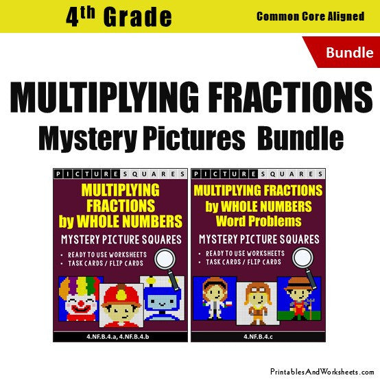 Grade 4 Multiplying Fractions Worksheets Mystery Pictures Coloring Worksheets / Task Cards