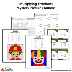 4th Grade Multiplying Fractions Mystery Pictures Coloring Worksheets / Task Cards Bundle
