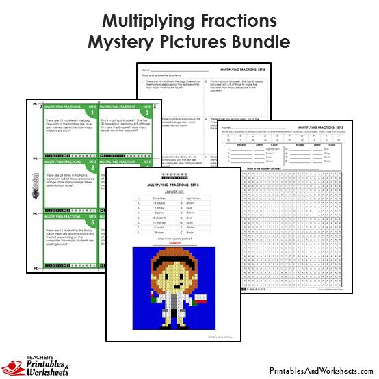 Grade 4 Multiplying Fractions Worksheets Mystery Pictures - Scientist
