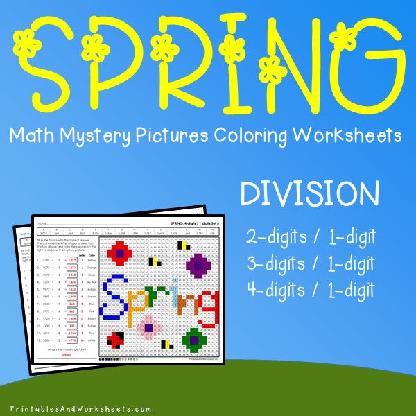 Spring Division Coloring Worksheets