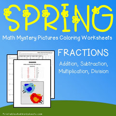 Spring Fractions Mystery Pictures Coloring Worksheets