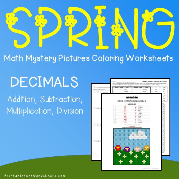 Spring Decimals Coloring Worksheets