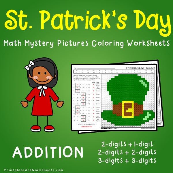 Saint Patrick's Day Addition Coloring Worksheets