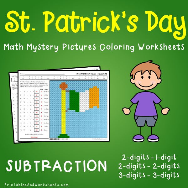 Saint Patrick's Day Subtraction Coloring Worksheets