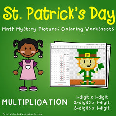 St. Patrick's Day Multiplication Mystery Pictures Coloring Worksheets