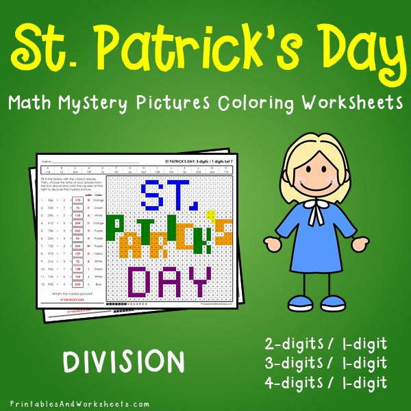 Saint Patrick's Day Division Coloring Worksheets