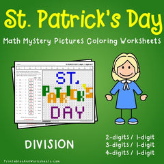 St. Patrick's Day Division Mystery Pictures Coloring Worksheets