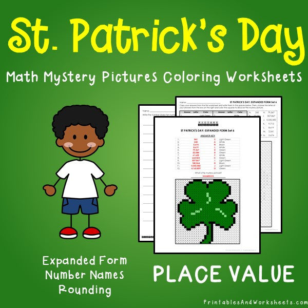 Saint Patrick's Day Place Value Coloring Worksheets