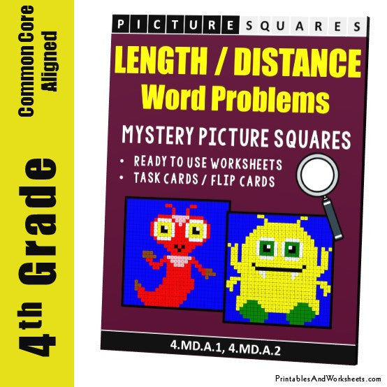 Grade 4 Length/Distance Word Problems Mystery Pictures Coloring Worksheets / Task Cards