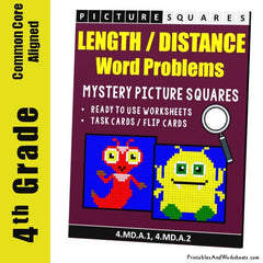 4th Grade Length Word Problems Mystery Pictures Coloring Worksheets / Task Cards