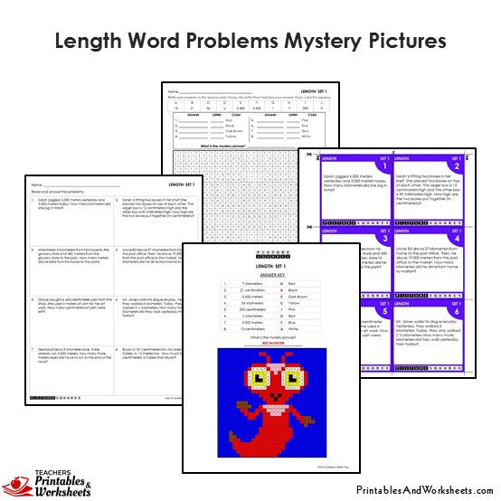 Grade 4 Length/Distance Word Problems Coloring Worksheets / Task Cards - Monster