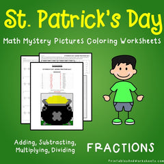 St. Patrick's Day Fractions Mystery Pictures Coloring Worksheets