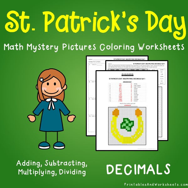 Saint Patrick's Day Decimals Coloring Worksheets