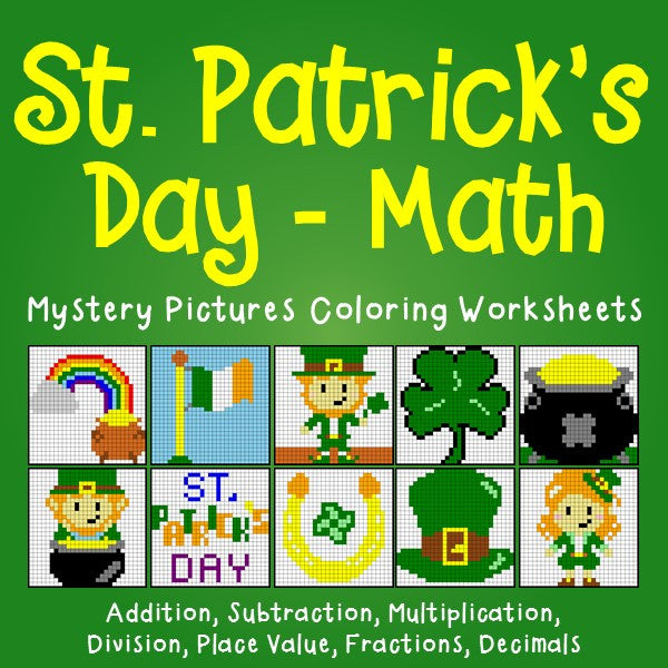 St. Patrick's Day Math Mystery Pictures Coloring Worksheets Bundle