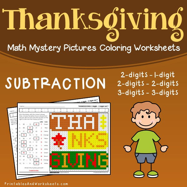Thanksgiving Subtraction Coloring Worksheets