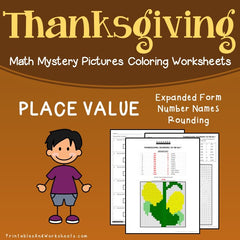 Thanksgiving Place Value Mystery Pictures Coloring Worksheets