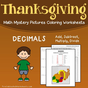 Thanksgiving Decimals Coloring Worksheets