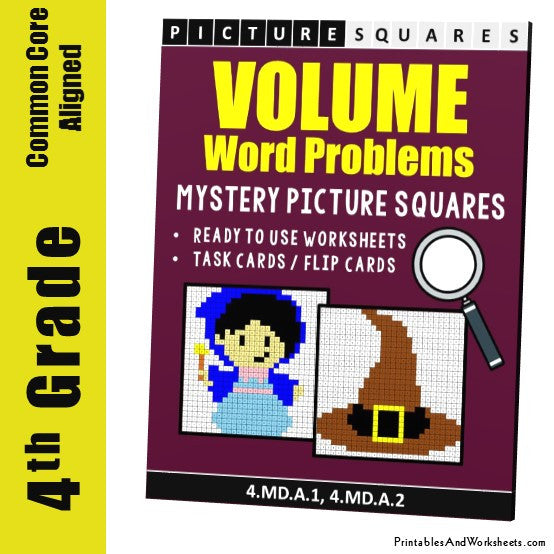 Grade 4 Liquid Volume Word Problems Mystery Pictures Coloring Worksheets / Task Cards