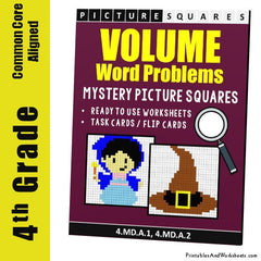 4th Grade Liquid Volume Word Problems Mystery Pictures Coloring Worksheets / Task Cards