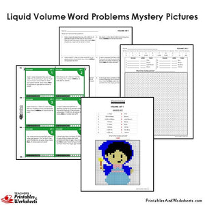 Grade 4 Liquid Volume Word Problems Mystery Pictures Coloring Worksheets / Task Cards - Fairy