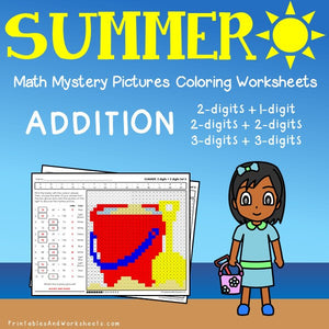 Summer Addition Coloring Worksheets