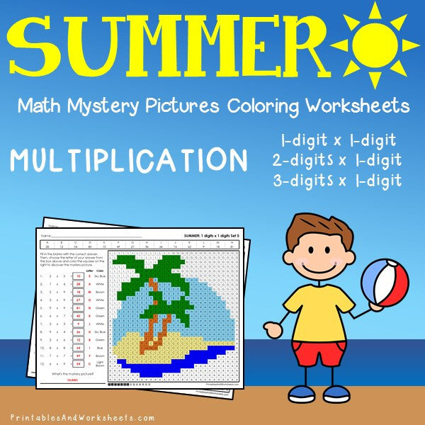 Summer Multiplication Coloring Worksheets