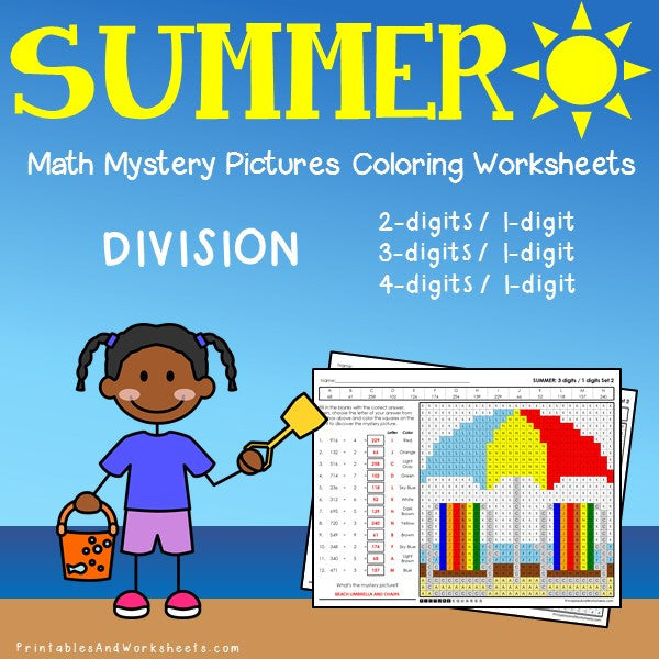 Summer Division Coloring Worksheets