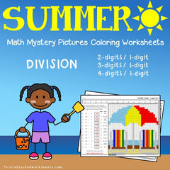 Summer Division Mystery Pictures Coloring Worksheets