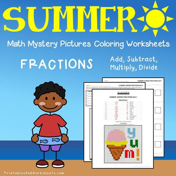 Summer Fraction Coloring Worksheets