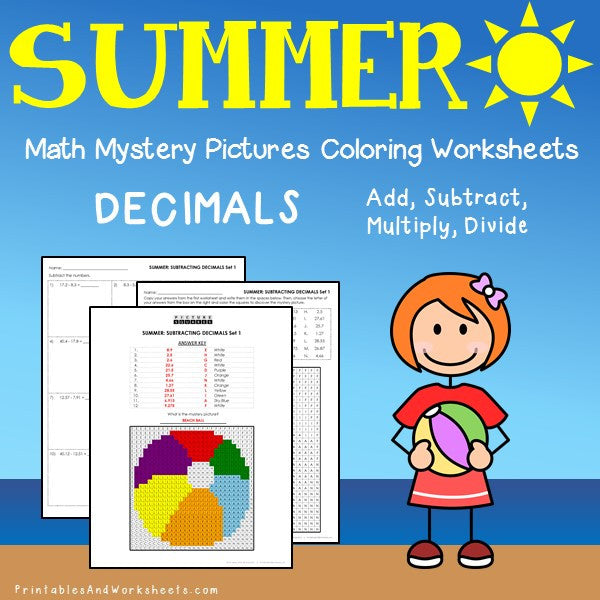 Summer Decimal Coloring Worksheets