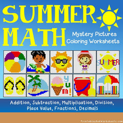 Summer Math Mystery Pictures Coloring Worksheets Bundle
