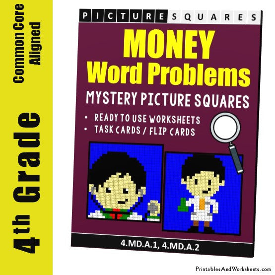 Grade 4 Money Word Problems Mystery Pictures Coloring Worksheets / Task Cards