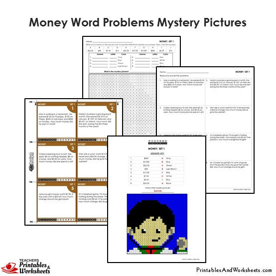 4th Grade Money Word Problems Mystery Pictures Coloring Worksheets -  Printables & Worksheets