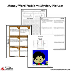 4th Grade Money Word Problems Mystery Pictures Coloring Worksheets / Task Cards
