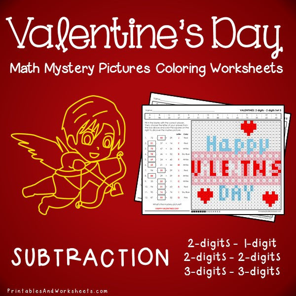 Valentine's Day Subtraction Coloring Worksheets