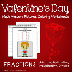 Valentine's Day Fractions Mystery Pictures Coloring Worksheets