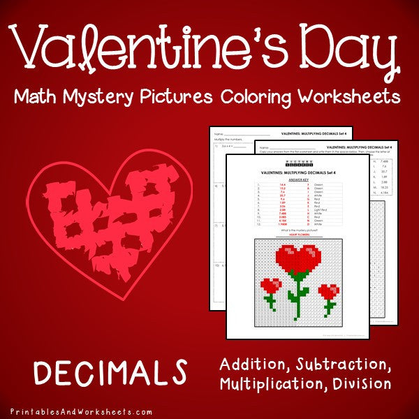 Valentine's Day Decimals Coloring Worksheets