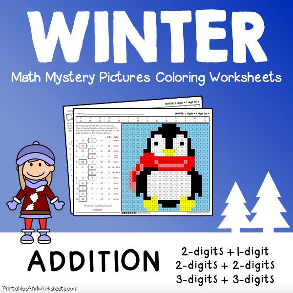 Winter Addition Coloring Worksheets