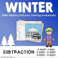 Winter Subtraction Mystery Pictures Coloring Worksheets