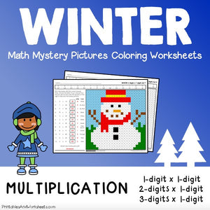 Winter Multiplication Coloring Worksheets