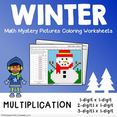 Winter Multiplication Mystery Pictures Coloring Worksheets