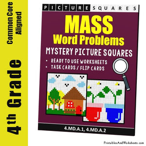 Grade 4 Mass Word Problems Mystery Pictures Coloring Worksheets / Task Cards