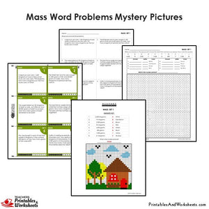 Grade 4 Mass Word Problems Coloring Worksheets / Task Cards - House